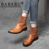 2019 autumn and winter new Sen female handsome belt buckle leather sleeve feet flat with British wind boots boots boots boots ch