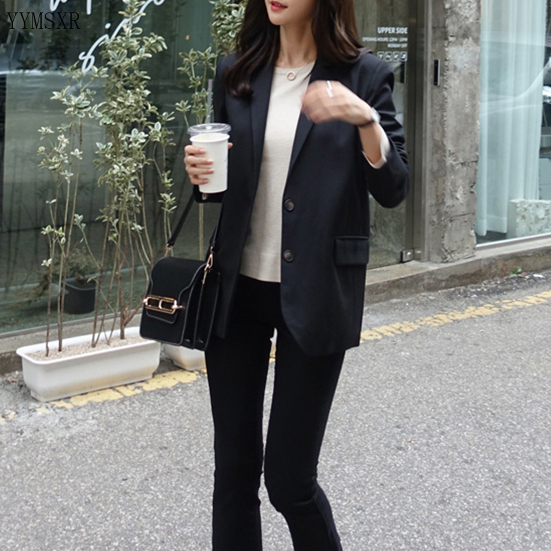2020 new spring and summer casual black women's suit jacket feminine Fashion slim single-breasted jacket blazer Female