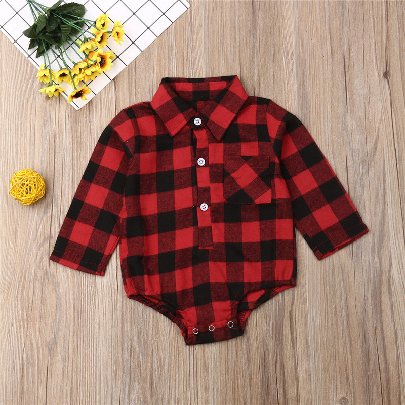 2020 Christmas Baby Girls Clothes Long Sleeve Red Black Plaid Baby   Rompers   Back Elk Print Girls Shirt Jumpsuits Toddler Gifts