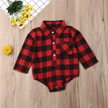 2020 Christmas Baby Girls Clothes Long Sleeve Red Black Plai