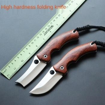 Manual Folding Knife Knife Wooden Handle High Hardness Fruit Knife Sharp Outdoor Knife Knife EDC Take Knife Natural Size Type недорого
