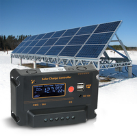 Anself 30A 12V 24V LCD Solar Charge Controller Panel Battery Auto Switch Overload Protection Temperature Compensation