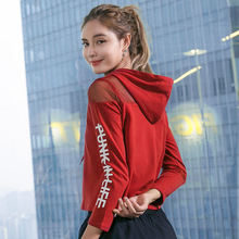 Sport Top Fitness Women Black White Red Letter Print Gym Top Sexy Mesh Hooded Long Sleeve Yoga T Shirt Women T-shirt Sport Wear fitness women top yoga shirts female sport gym top sport shirt women top yoga tank top fitness women clothing t shirt