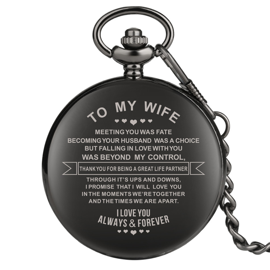 To My Wife Design Engraving Custom Retro Quartz Pocket Watch Anniversary Couples Gifts Arabic Numerals Display Pendant Clock
