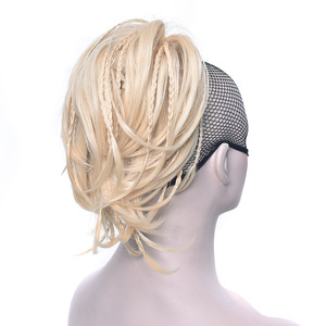 Claw Ponytail Synthetic Short Curl Wavy Pony Tail with Braids Natural Textured Clip In/On Hairpiece For Women 12