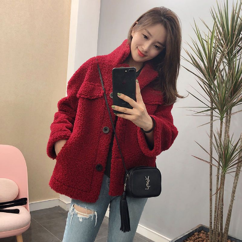 Woman Short Lamb Jacket Wool Coat Fashion Harajuku Jacket in Wool amp Blends from Women 39 s Clothing