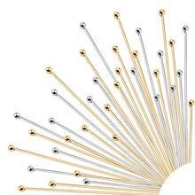 50 pces/100 pces aço inoxidável bola cabeça pinos, ouro chapeado pinos suprimentos dor jóias fazendo artesanal diy jóias acessórios
