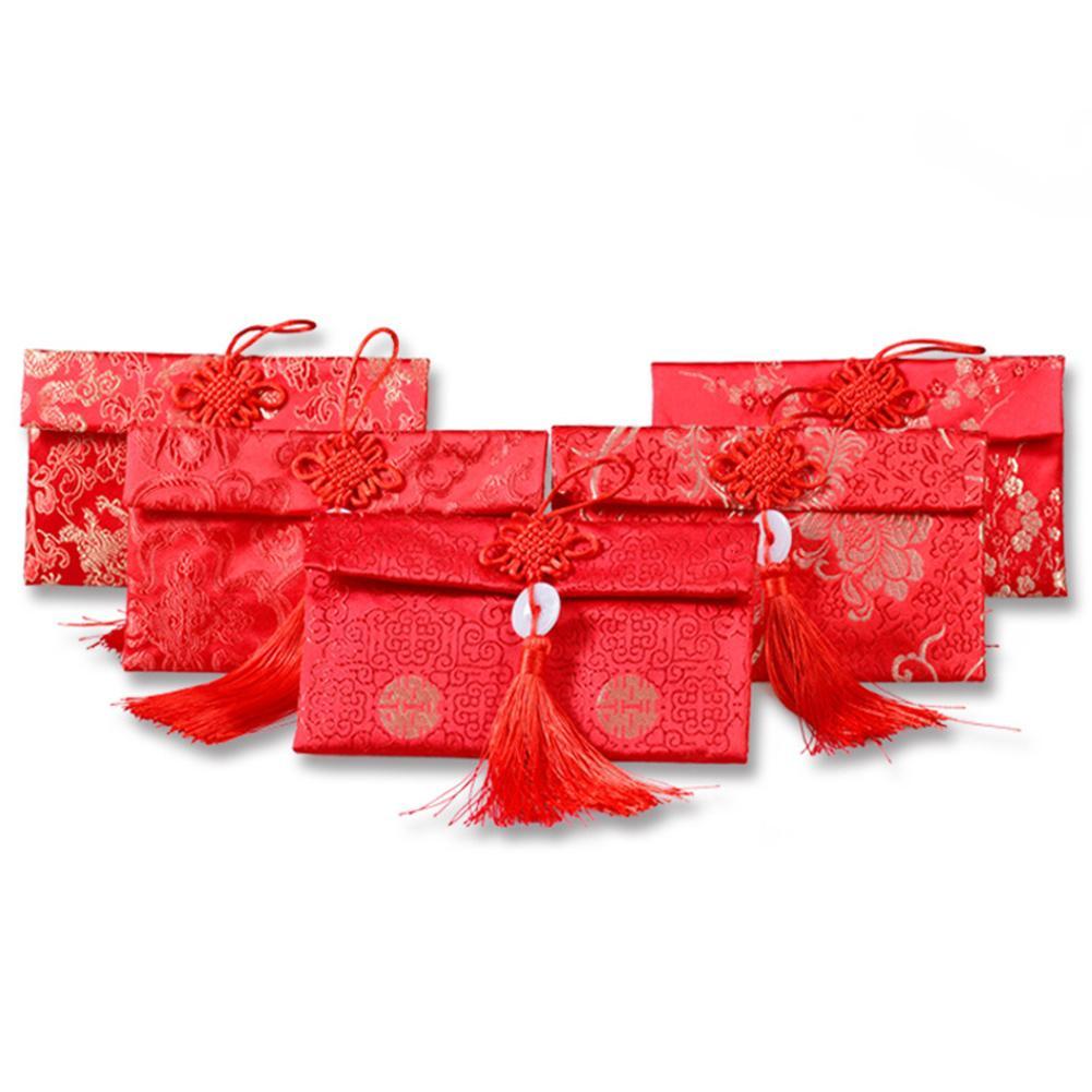 2020 Phoenix chinois noueux gland brocart rouge enveloppe argent paquet enfants nouvel an cadeau