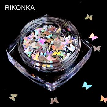 1 Box holograficzny kształt motyla Glitter płatki świecące 3D kolorowe cekiny Spangles polski Manicure paznokcie artystyczna dekoracja tanie i dobre opinie RIKONKA RKBF Plastic Rhinestone i dekoracje 1 piece Round Butterfly Metal Silver Red Yellow Blue Purple Green Pink White