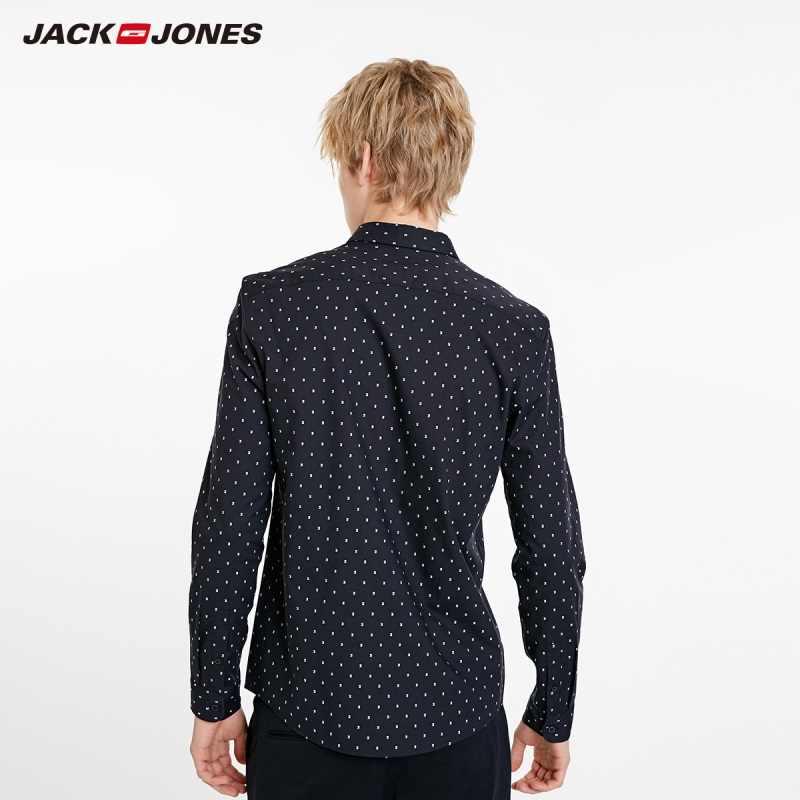 Мужская приталенная рубашка JackJones, базовая жаккардовая рубашка с длинными рукавами из 100% хлопка, Мужская одежда, 219105578