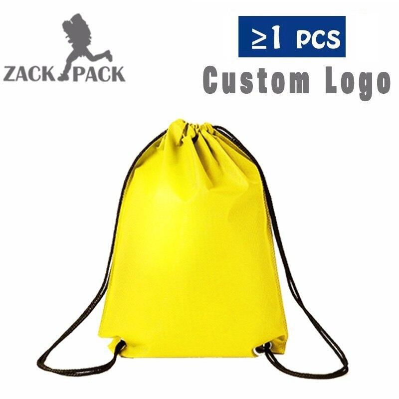 50pcs Drawstring Bags Custom Logo Travel Storage Backpack Promotional Sports Printed Bag For Female/Men Polyester Backpack