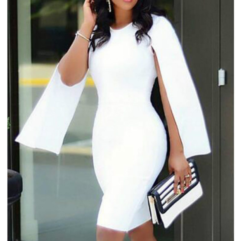 White Bodycon Party Dresses Slim Sexy Cloak Slit Sleeve Stylish Sheath Event Occation Night Out Female Dress For Women XXL
