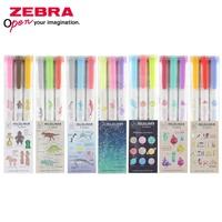 Japan Zebra WKT7 Markeerstift 3 Kleur Set Mildliner Limited Licht Kleur Mark Dubbele Hoofd Note Key Marker