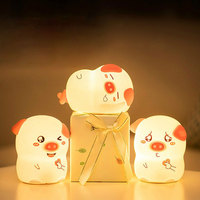 Animal Pig Led Night Lights for Kids Baby Nursery Silicone Night Light Christmas Usb Gift Cartoon Novelty Lamp Bedroom Luminaria
