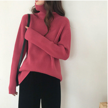Autumn Winter Turtleneck Sweater Women Knitted Ribbed Pullover Sweater Long Sleeve  Slim Jumper Pull Femme Stretchable autumn winter basic thick sweater women knitted ribbed pullover sweater long sleeve turtleneck slim jumper soft warm pull femme