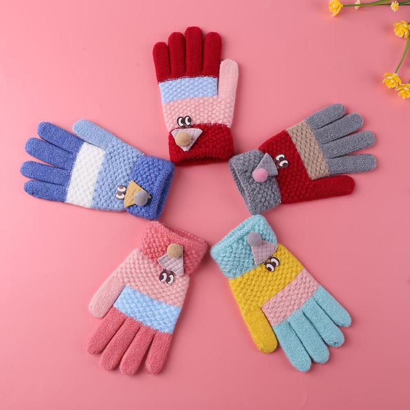 2pcs Kids Warm Soft Knitted Gloves Skillful Manufacture Superior Quality Skin-friendly Wool Cartoon Ski Glove Hand Cover