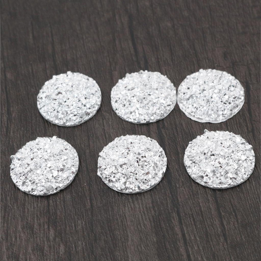 New Fashion 10pcs 20mm Silver Colors Natural Ore Style Flat Back Resin Cabochons For Bracelet Earrings Accessories-T4-05
