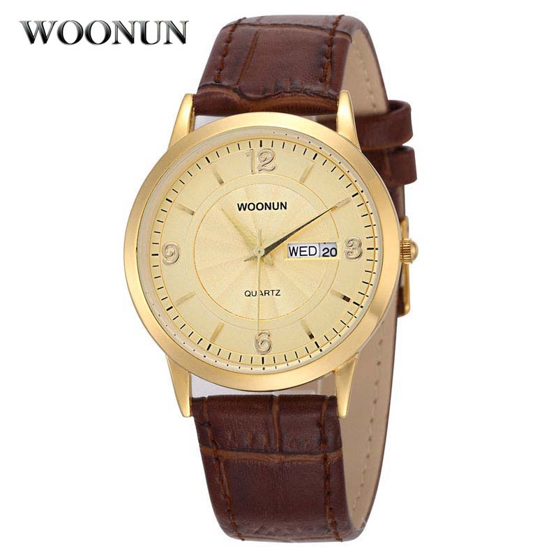 2020 WOONUN Top Brand Luxury Gold Watches Ultra Thin Watch For Mens Clock Waterproof Shockproof Calendar Quartz Watch Jam Tangan