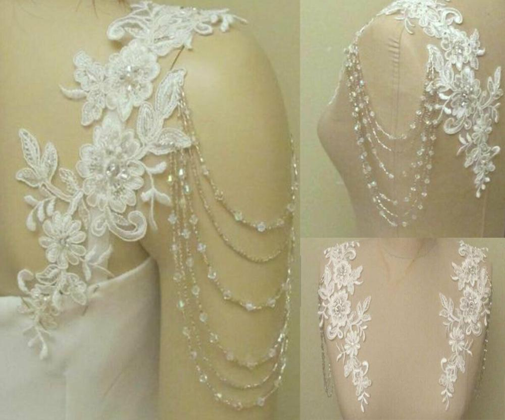 Removeable Wedding Dress Straps Wedding Jackets Lace Top Bridal Bolero Wraps Shawl Straps For Strapless Dress