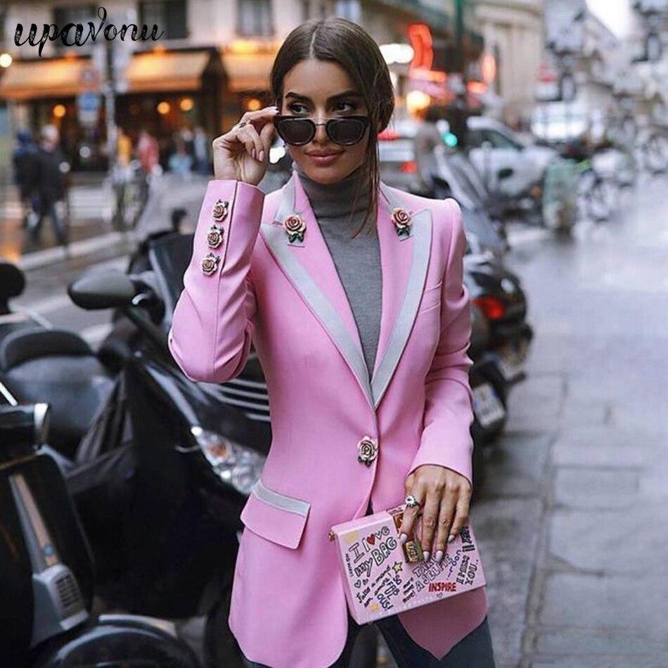Haute rue nouvelle mode 2020 concepteur Blazer femmes à manches longues doublure florale Rose boutons Rose Blazer veste extérieure vêtements