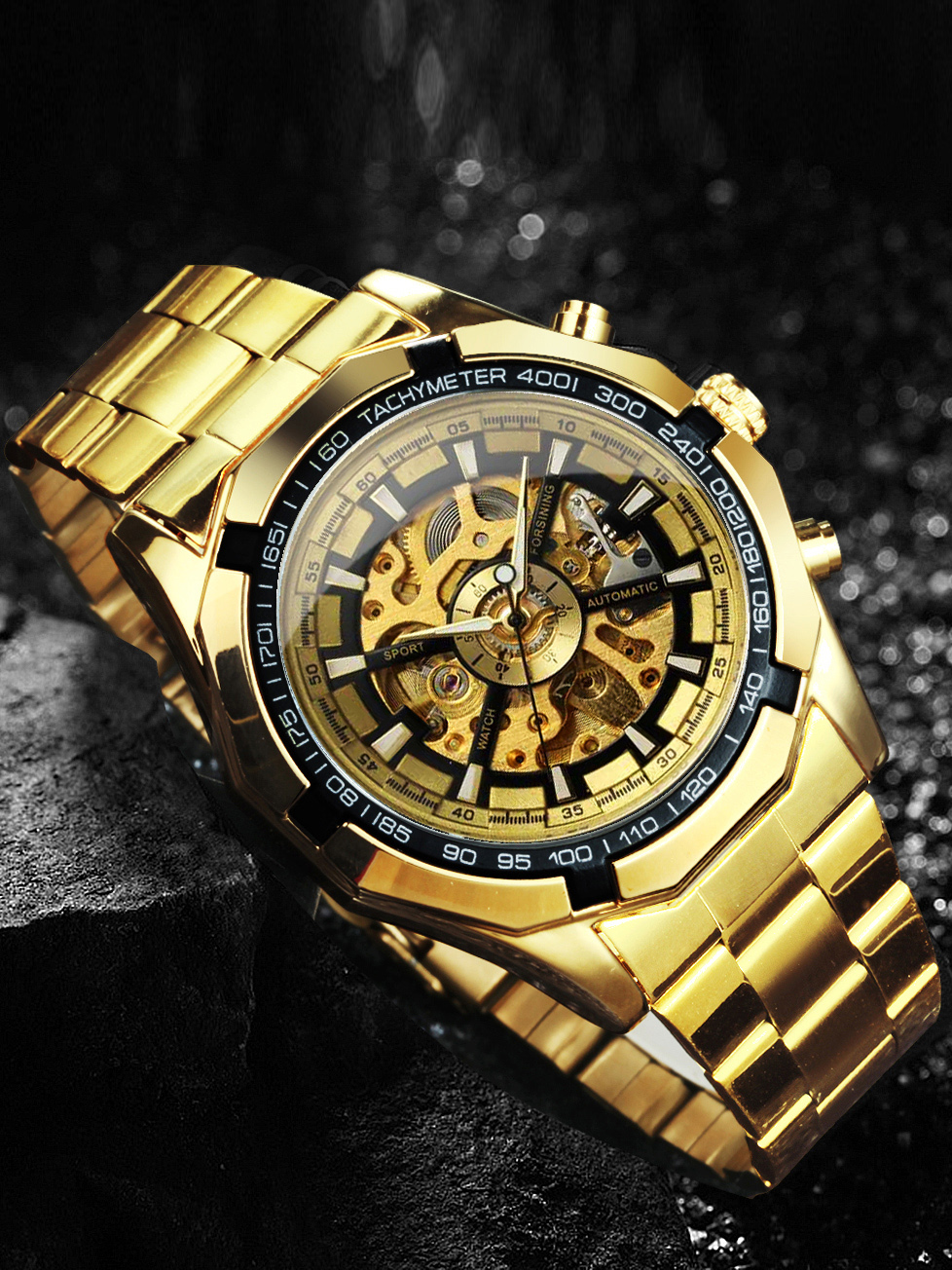 Man Watch Mechanical-Watch Skeleton Gold Vintage Top-Brand Mens Automatic Luxury