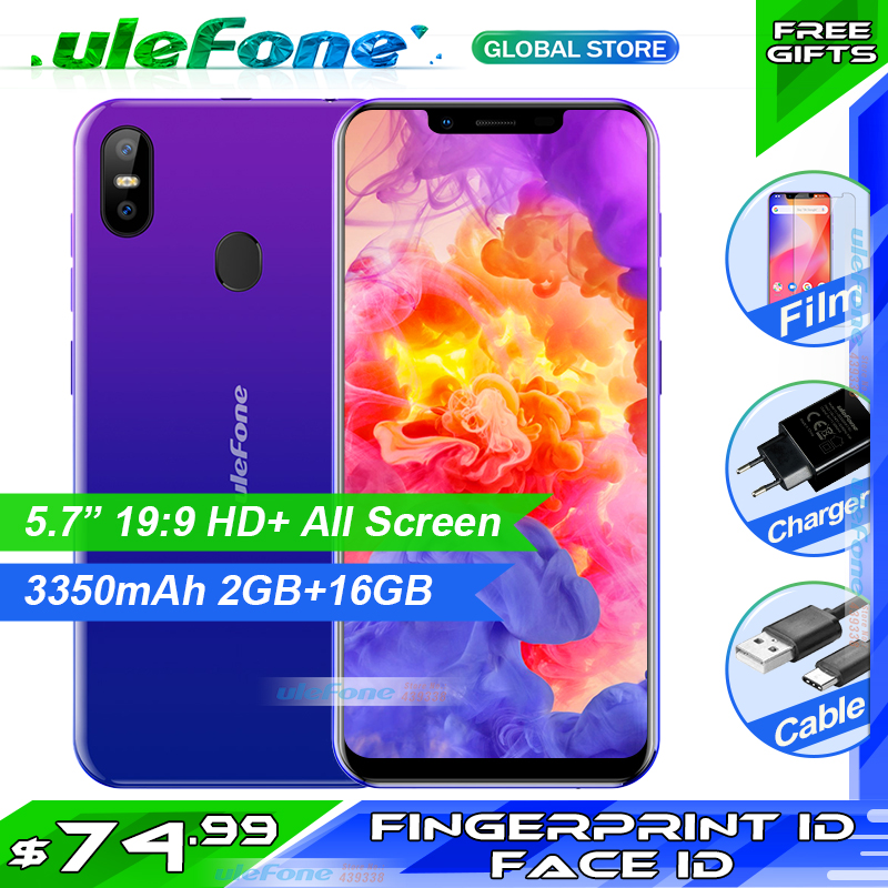 Ulefone S10 Pro Telefone Móvel 5.7 HD + 19:9 MT6739WA Quad Core 16GB 13MP + 5MP Rosto Unlock Android 8.1 4G Smartphone com o dom gratuito