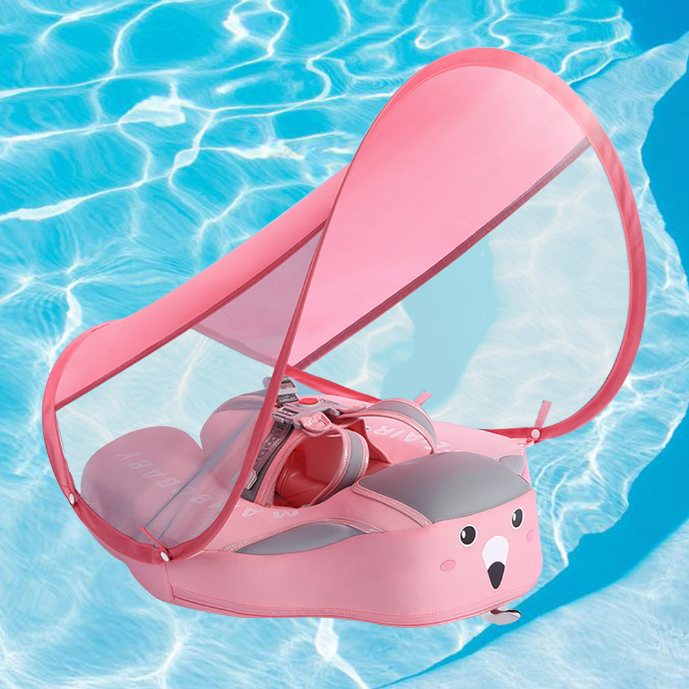 Anti Flip Over Non Inflatable Buoyancy Bathing Toy Armpit With Sunshade Baby Swimming Ring Floating Safety Circle Infant Pool