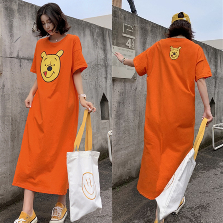 Summer Short-sleeved Nightgown Women's Orange Double Pooh Bear Skirt M-XXL 2 PCs Color