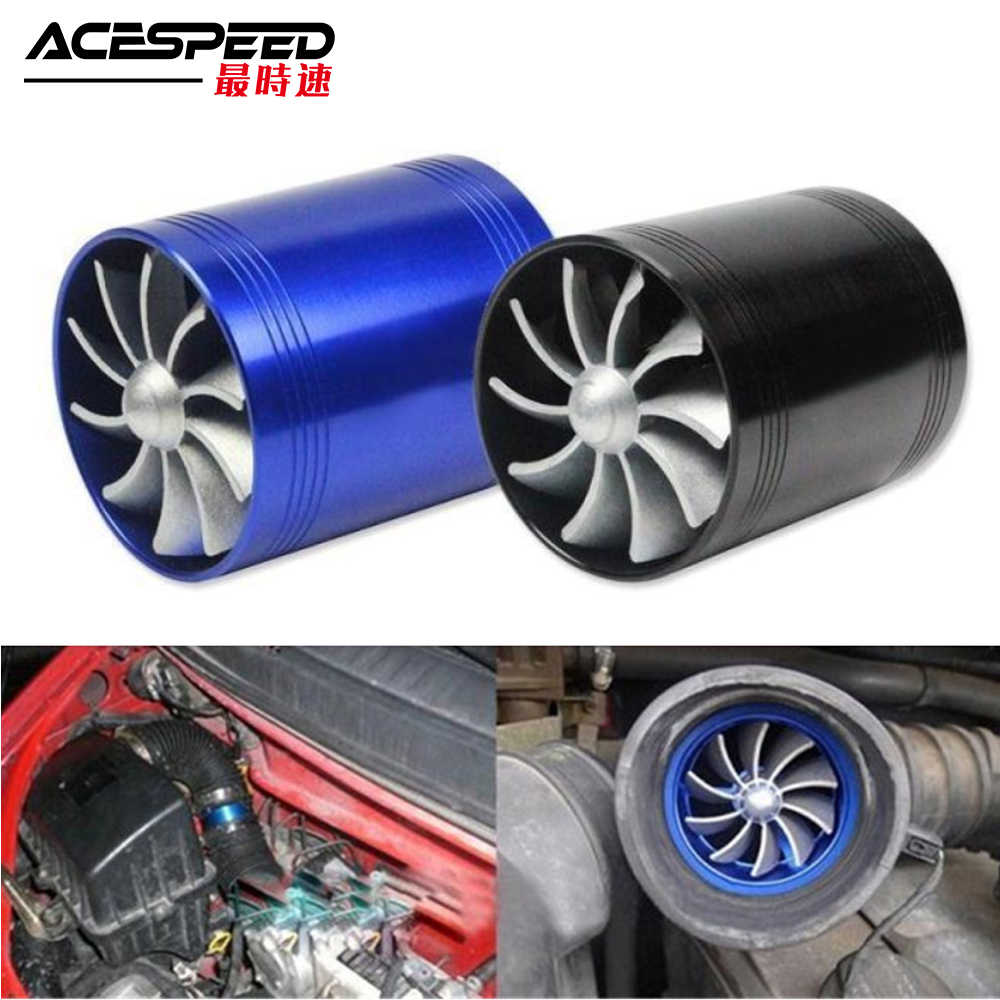 Auto Turbine Supercharger Turbo Dubbele Luchtfilter Intake Fan Brandstof Gas Saver Kit Auto Vervanging Deel