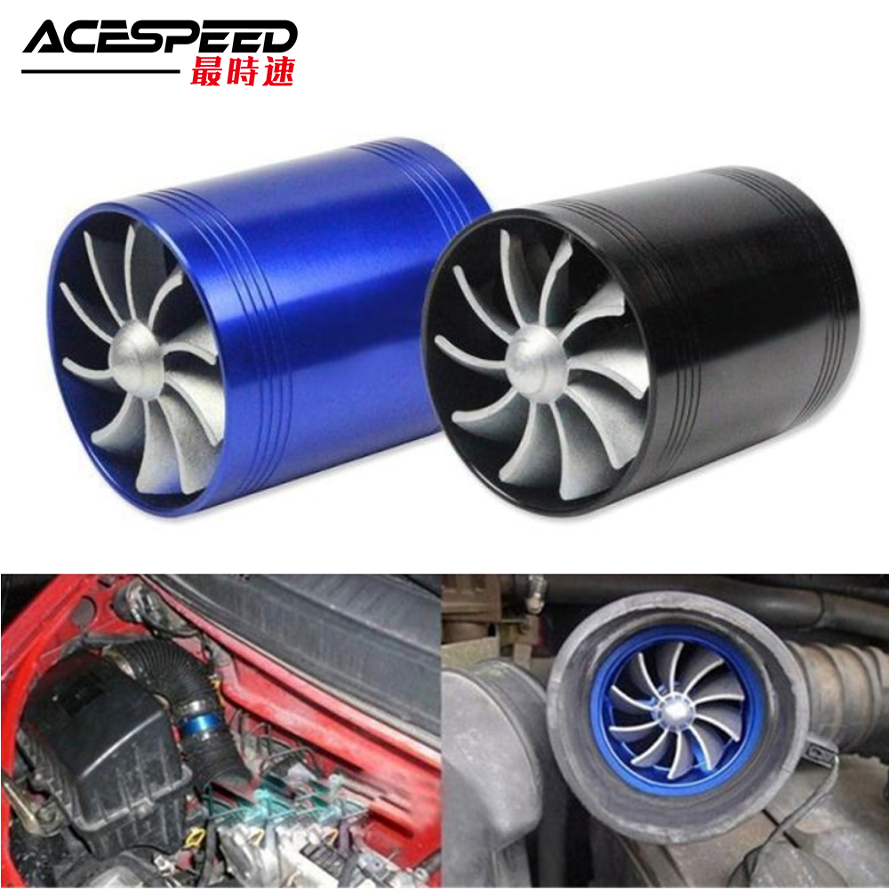 Car Turbine Supercharger Turbo Charger Double Air Filter Intake Fan Fuel Gas Saver Kit Auto Replacement Part