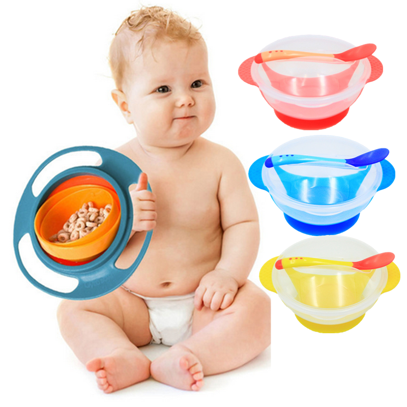 Universal Gyro Bowl Children's Tableware Baby Learning Dishes With Suction Cup Temperature Sensing Spoon Baby Feeding Bowl