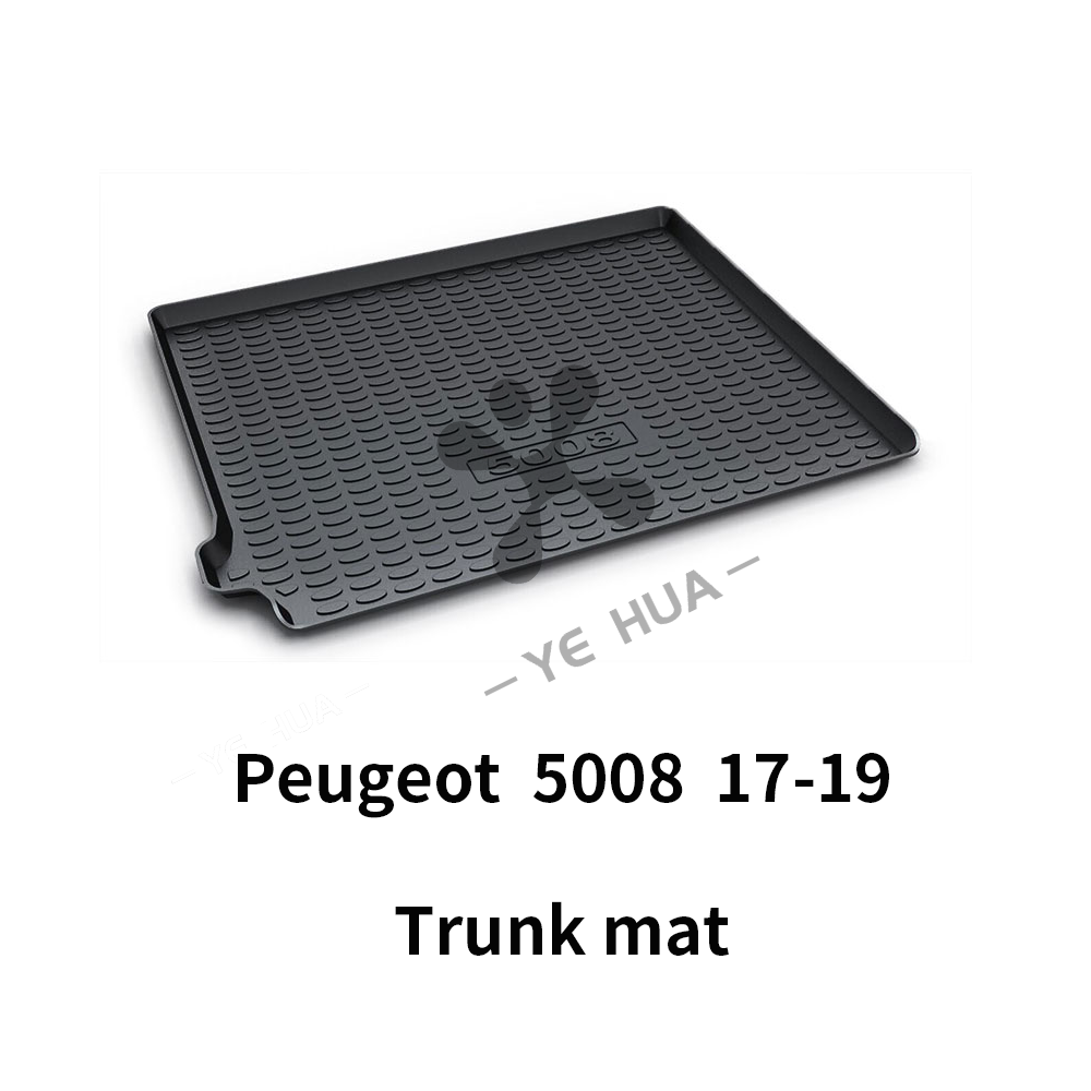 Black Heavy Duty Cargo Floor Mat-All Weather Trunk Protection, Durable HD TPO Fit For Peugeot 5008 17-19