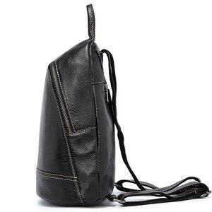 Image 3 - Zency 100% 정품 가죽 패션 여성 배낭 Preppy 스타일 여자의 Schoolbag 블랙 휴일 배낭 레이디 캐주얼 여행 가방