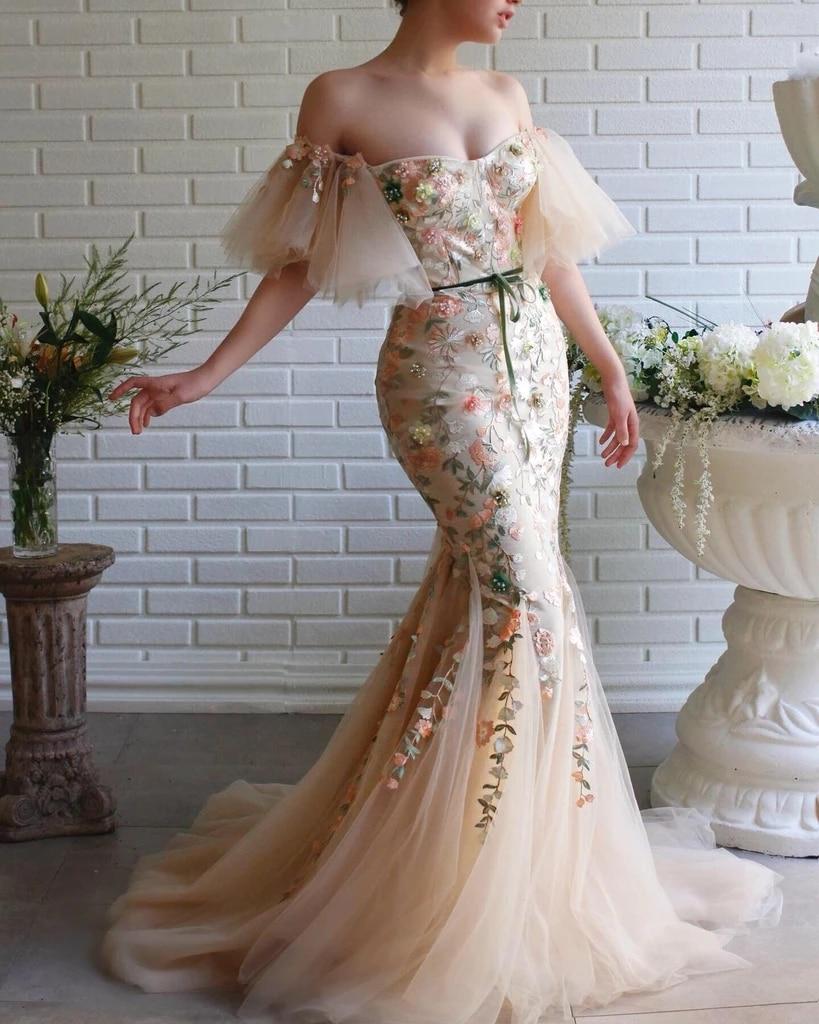 Embroidery Muslim Evening Dresses 2019 Mermaid Sweetheart Tulle Pearls Islamic Dubai Saudi Arabia Long Formal Evening Gown