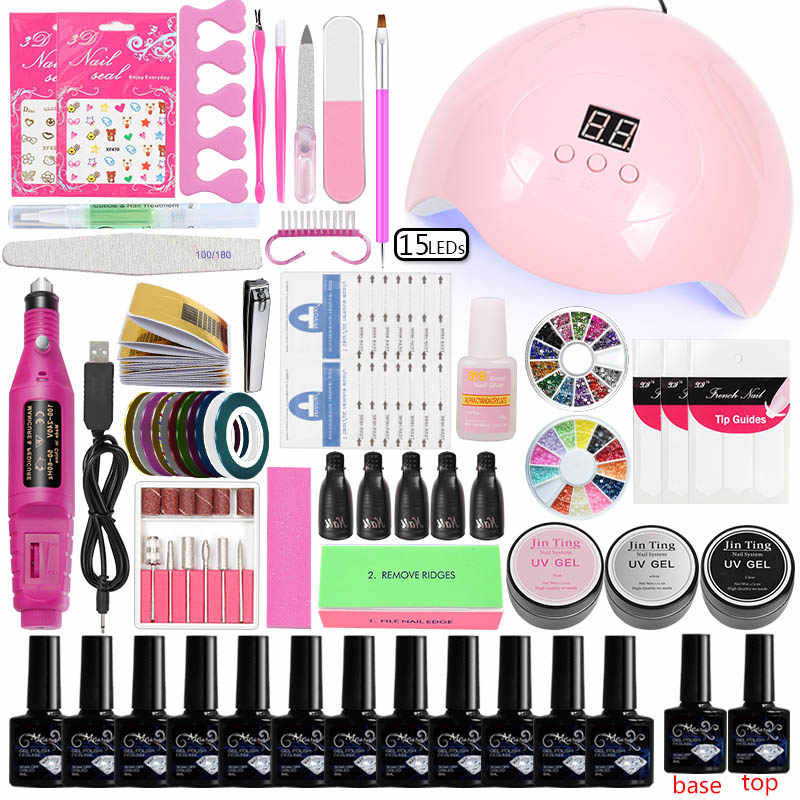 Manicure Set Acryl Nail Extension Kit 12 stuks Gel Polish Base Top Coat & 45 w/80 w Led uv Lamp Elektrische Manicure Handvat Nail set