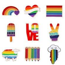Broches en émail, drapeau arc-en-ciel, classique, pour vêtements, sac, amour véritable, Badge de fierté Gay et lesbiennes, unisexe, cadeau de bijoux