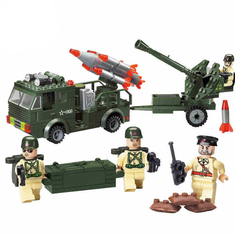 Models building toy 812 242Pcs Military Educational Army Truck Missile Building Blocks compatible with lego toys & hobbies