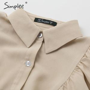 Image 5 - Simplee Vintage potargane kobiety bluzka koszula elegancki rękaw kloszowy guziki bluzki damskie koszule jesienno zimowa biurowa, damska bluzka