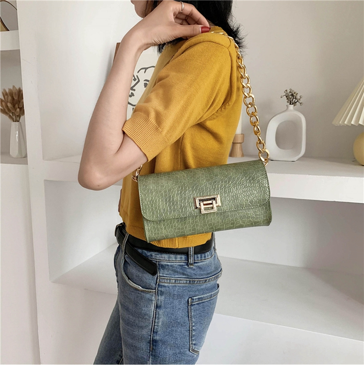 Crocodile Pattern Vintage Soild Color Small Square Bag For Women 2020 summer Handbag And Small Chain Bags Fashion Armpit Bag (10)