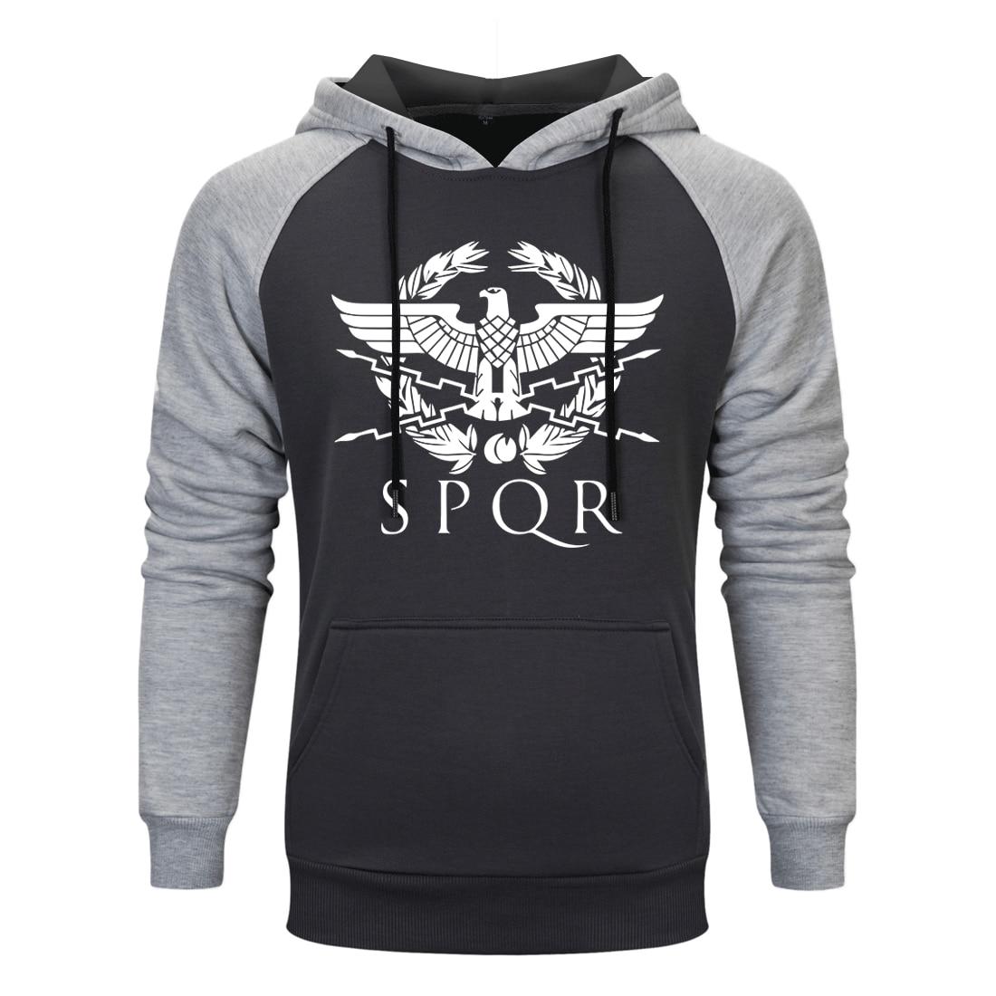 Men Print Spqr Gladiator Imperial Raglan Hoodie Mens Casual Fleeve Sweatshirt 2020 Autumn Winter Clothing Male Casual Sportswear