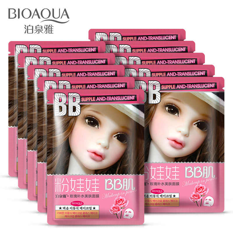 BIOAQUA 1 pièces Rose extrait soin de la peau plante masque Facial hydratant contrôle de l'huile point noir dissolvant enveloppé masque visage masque