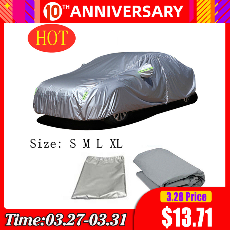 Car Cover Universal Full Cover for Snow Ice Dust UV Resistant Sunscreen Outdoor Protection Waterproof Dustproof Vehicle Coat title=