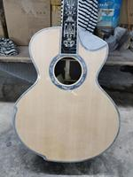 free shipping solid wood customized acoustic guitar DIY Custom solid wood Guitarra handmade acoustic electric guitar