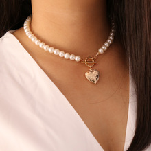 Lover Heart Pendant Charm Necklace Simulated Pearl Chain Short Choker Necklace for Women Party Statement Necklace Chocker Female yikalaisi 2017 long multilayer pearl necklace natural freshwater pearl choker charm accessories statement necklace for women