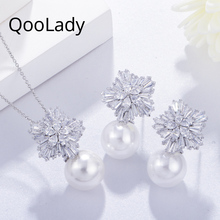 QooLady Brand New White Cubic Zircon Bridal Snowflake Pearl Pendant Necklaces and Earrings Costume Jewelry Set for Wedding Z003