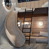 Vertical Space Bunk Bed with Wood Slide