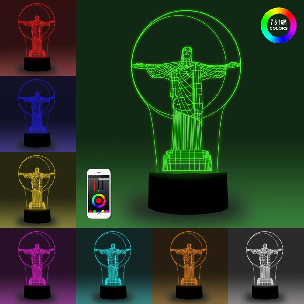 NiteApps 3D Christ Night Light Desk Table Illusion Decoration Lamp Holiday Birthday Gift APP/Touch Control