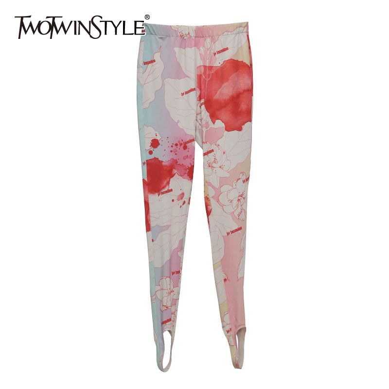 TWOTWINSTYLE Print Hit Color Women's Trousers High Waist Slim Full Length Pencil Pants Streetwear Style Fashion Clothes 2020 New
