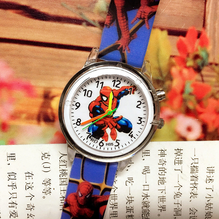 Luminous Glow Spiderman Watch Kids Watches Leather Strap Cute Children's Cartoon Super Hero Wristwatches Gifts For Kids Girl