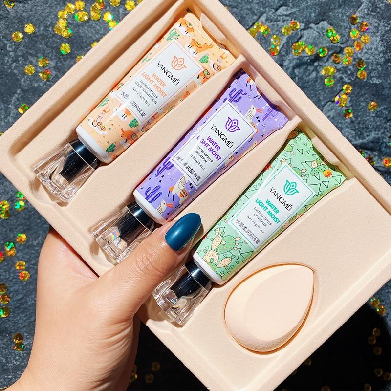 Набор из 3 основ для макияжа водочувствительная мягкая основа для макияжа жидкий увлажняющий консилер изоляция осветляет тон кожи Гладкий
